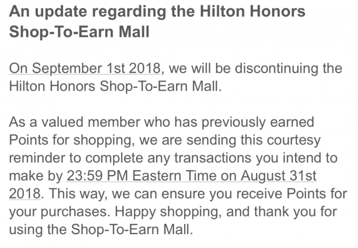 Hilton Honors Shop To Earn Email
