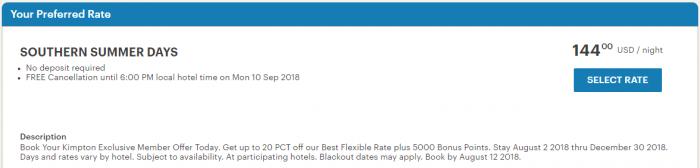 IHG Rewards Club Kimpton Offer Hotels Rate Rules