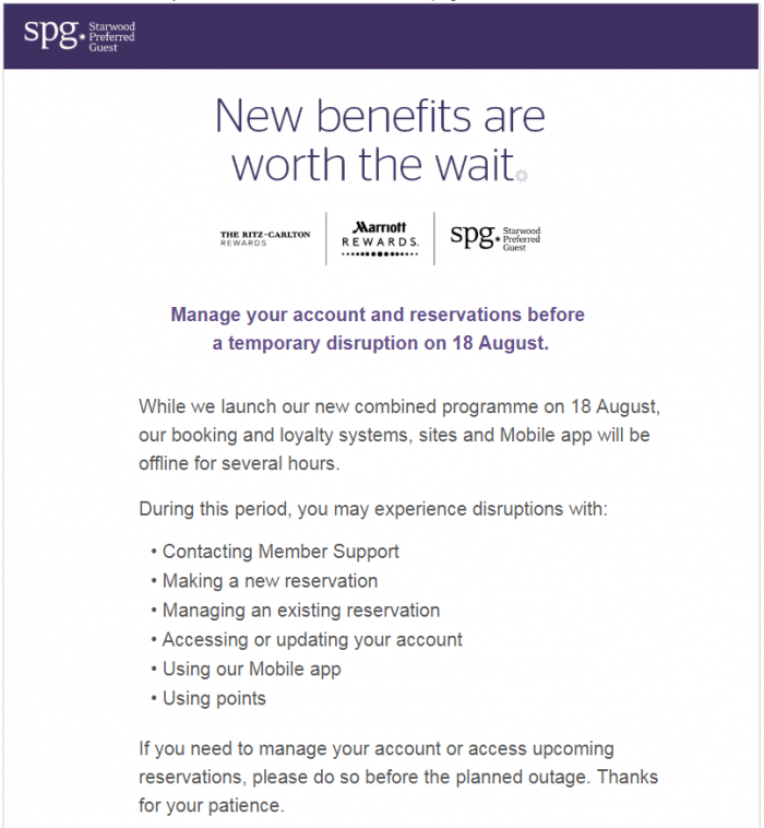 Marriott Rewards Outage Announcement SPG