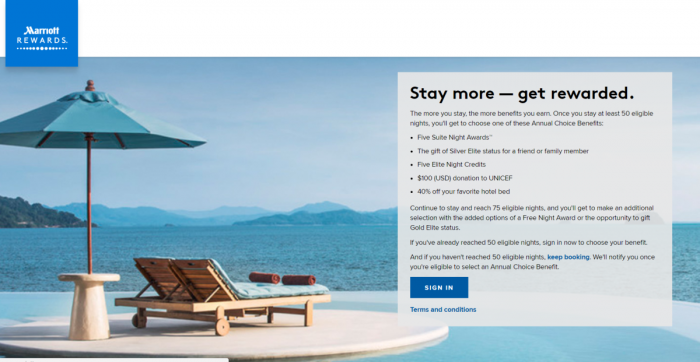 Marriott Rewards & SPG Annual Elite Choice Benefit Now Available U