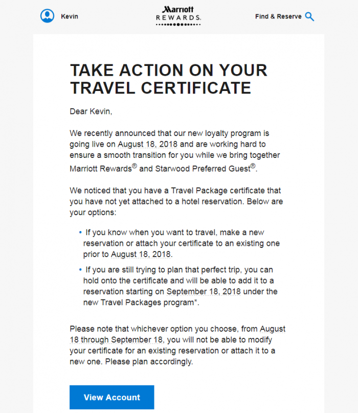 Marriott Rewards Travel Certificate