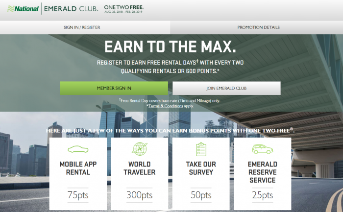 National Emerald Club One Two Free 2018