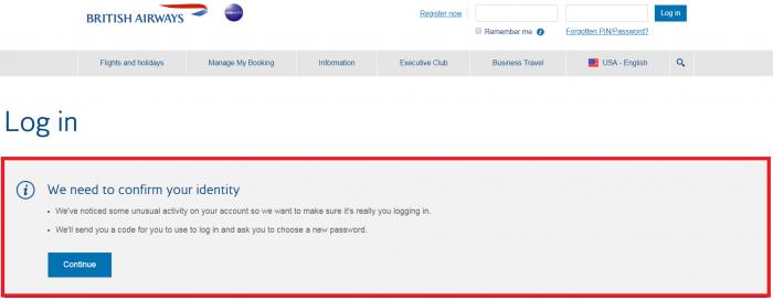 British Airways Password Change U