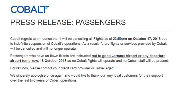 Cobalt Air Press Release
