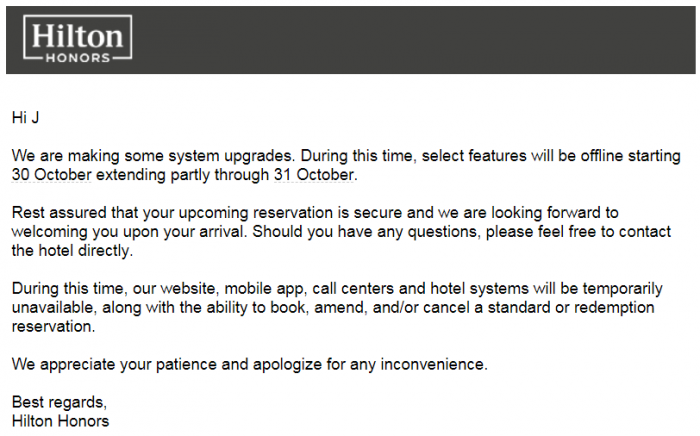 Hilton Email Update