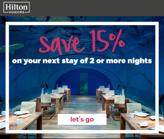 Hilton Honors 15% Off Americas Through January 31 2019