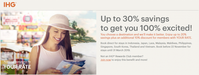 IHG Rewards Club Your Rate 30% Select Countries Fall & Winter 2018