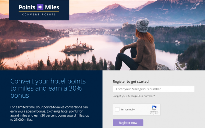 United Airlines MileagePlus Hotel Points To Miles Conversion Bonus Fall 2018
