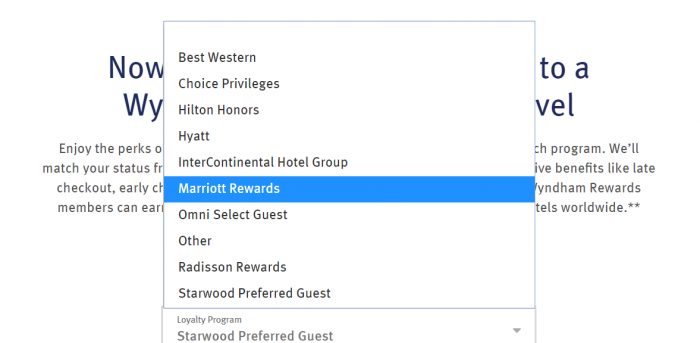 Wyndham Rewards Status Match Competing Programs