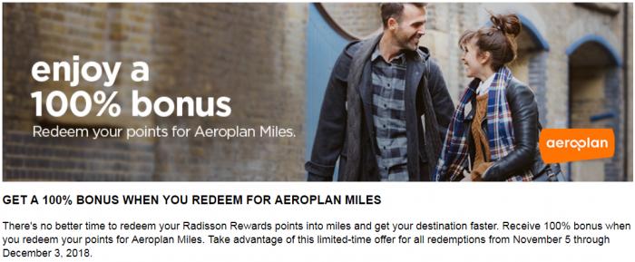 Air Canada Aeroplan Hotel Points To Miles 30% Conversion Bonus Radisson Rewards