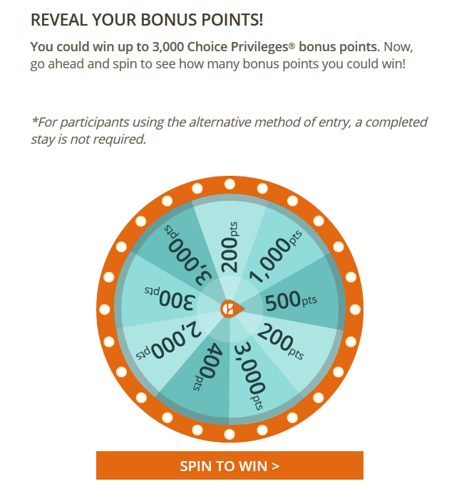 Choice Privileges Free Points Spin