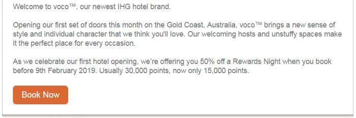 IHG Rewards Club Voco Gold Coast Australia Text