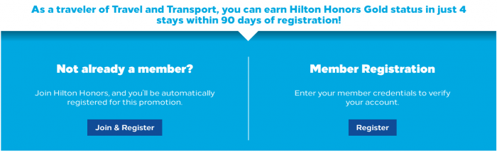 Hilton Honors Gold Fast Track Four Stays 90 Days Text