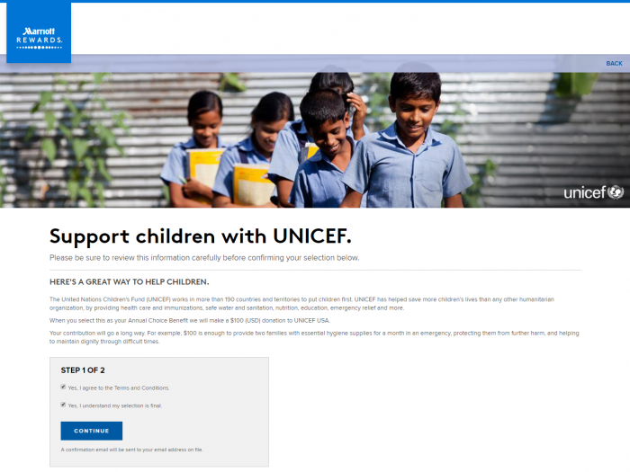 Marriott Rewards Choice Benefits 50 Nights Options Unicef