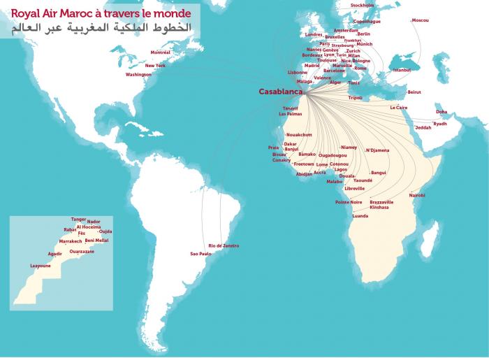 Royal Air Maroc Route Map