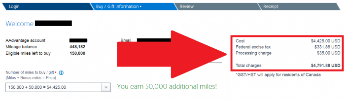 American Airlines AAdvantage Buy Miles January 2019 Price