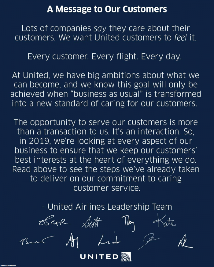 United's Message To Customers