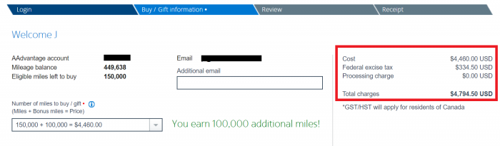 American Airlines AAdvantage Buy Miles Campaign March 2019 Price