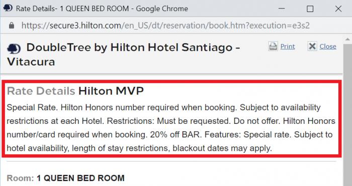 Hilton Honors MVP Santiago Rate Rules