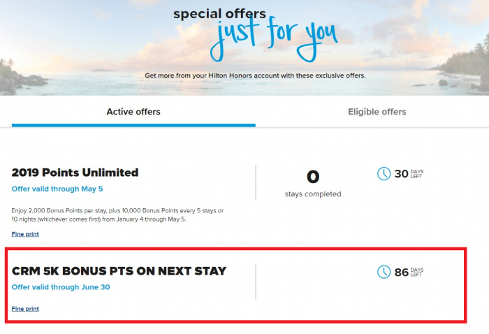 Hilton Honors 5,000 Bonus Points My Offers
