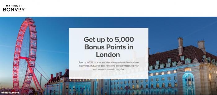 Marriott Bonvoy London Weekend Offer 2019