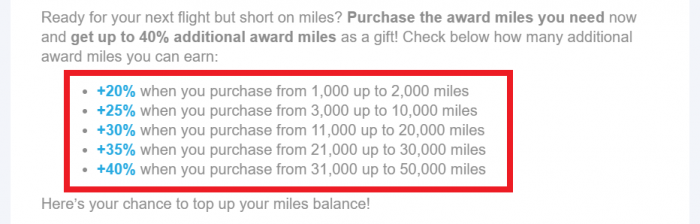Aegean Miles+Bonus Buy Miles May 2019 Table