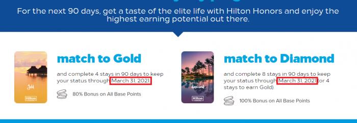 Hilton Honors Gold & Diamond 2021