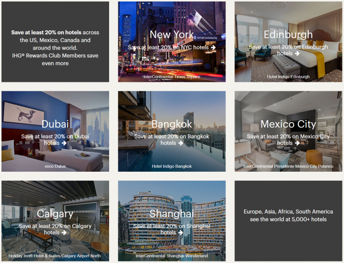 IHG Rewards Club Global Sale Summer 2019 Destinations