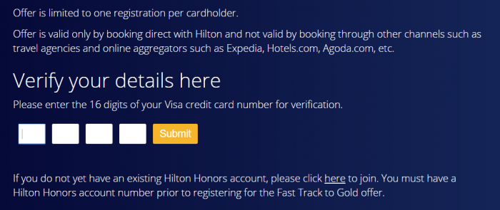 Hilton Honors Visa Fast Track Registration
