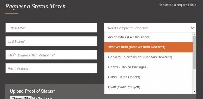 IHG Rewards Club Status Match 2019 Matched Programs