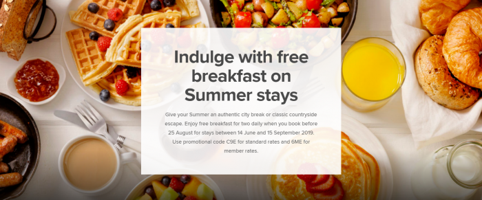 Marriott Bonvoy Europe Summer Offers 2019 Breakfast