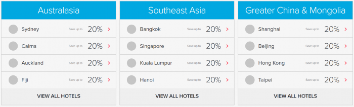 Hilton Honors APAC Sale Summer 2019 Areas