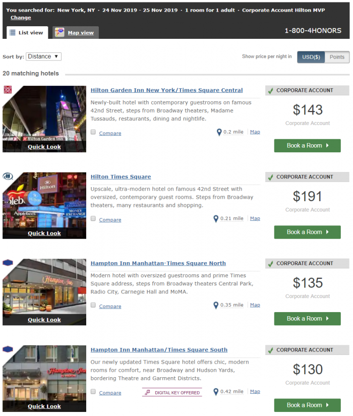 Hilton Honors MVP Rate Search New York