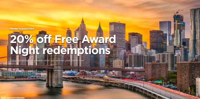 Radisson Rewards 20% Award Night Discount